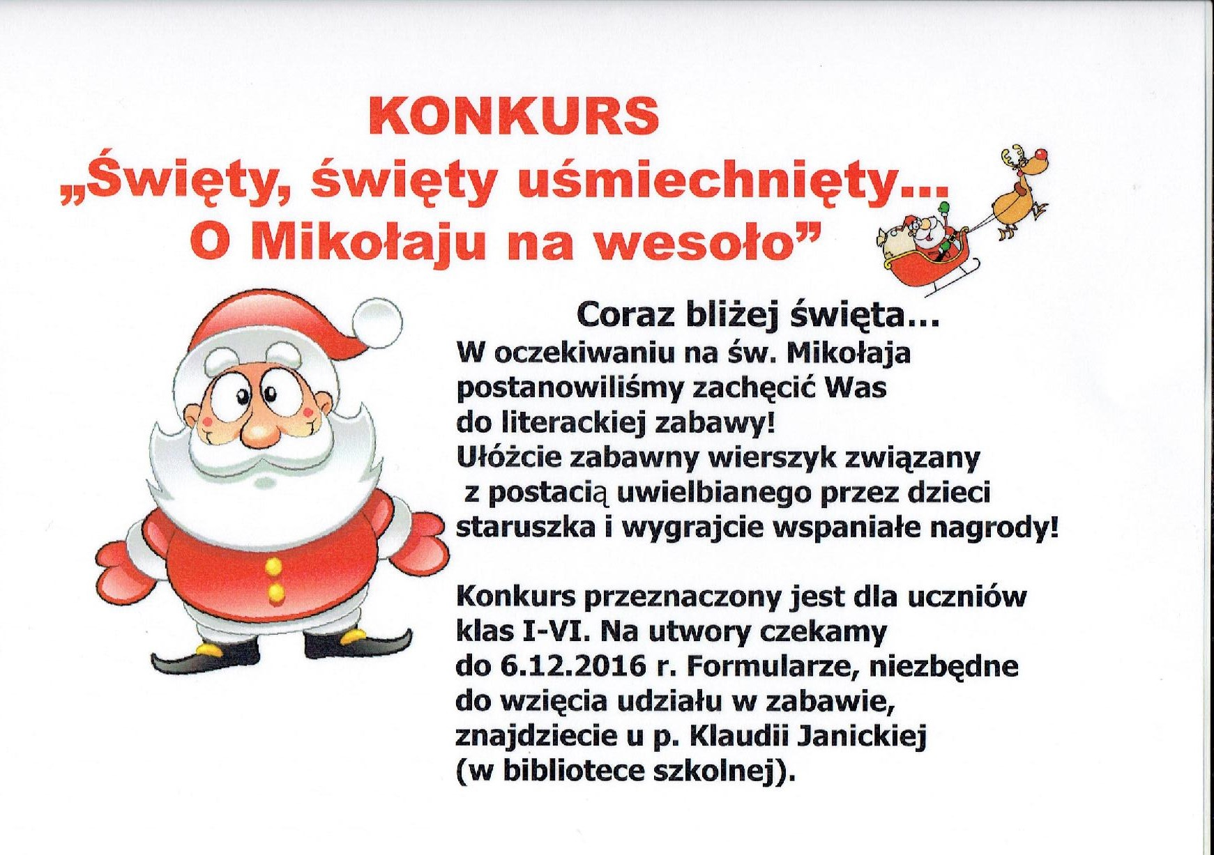 Info O Konkursie Sw Mikolaju Szkoła Podstawowa Im