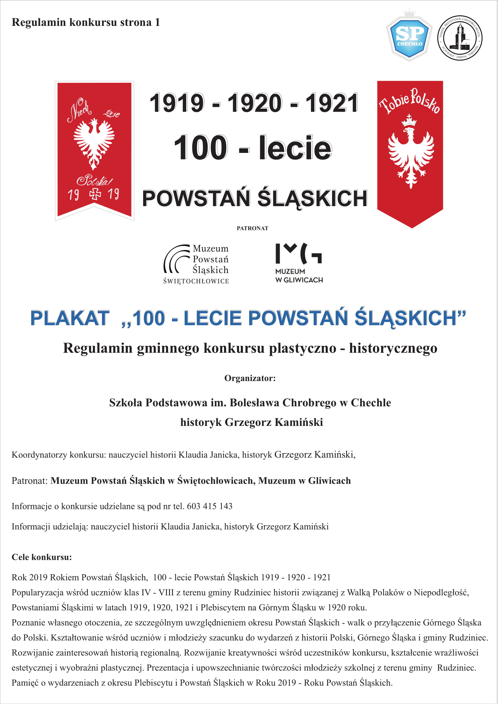 SP Chechlo Regulamin Szkolnego Konkursu Plakat na 100 lecie Powstan Slaskich 2019-1-1