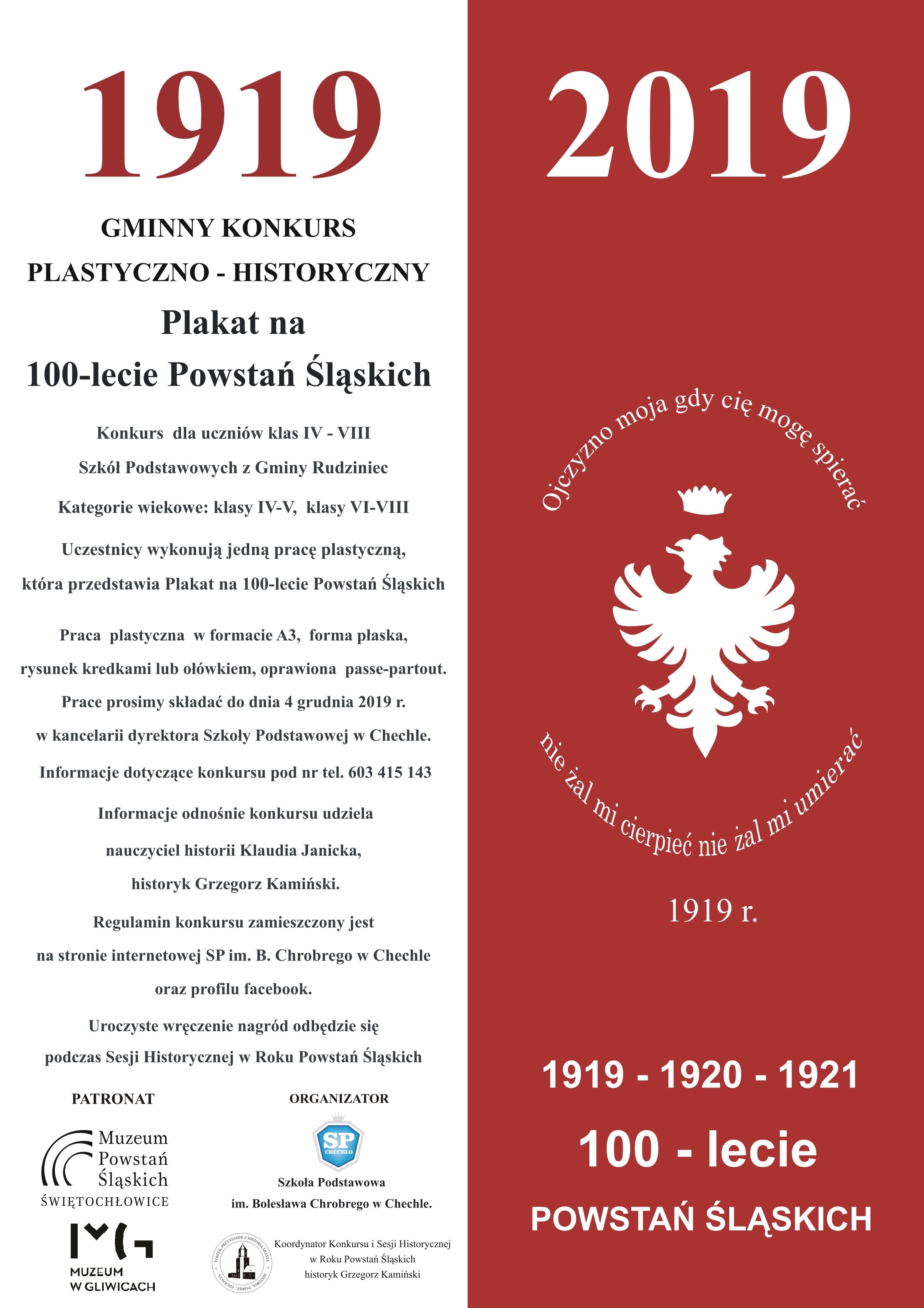 SP Chechlo konkurs gminny Plakat 100 lecie Powstan Slaskich 2019 A3